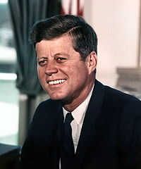 President John F. Kennedy White House color photo portrait