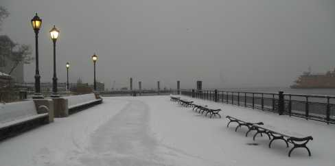 snowy battery park promenade looking east