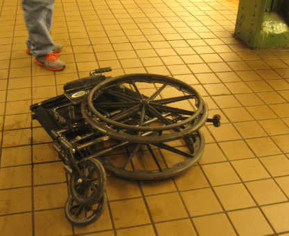 The wheelchair that was set on fire