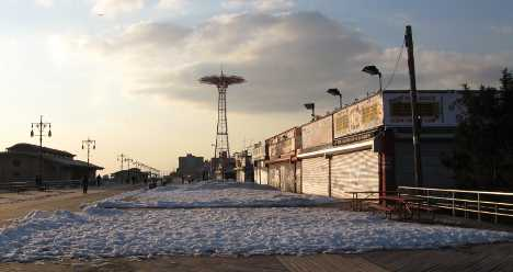 Coney Island Boardwalk in the snow.