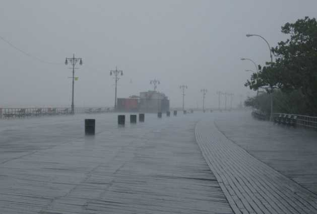 Coney Island Boardwalk in a rain storm