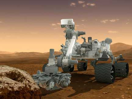 Artist's depiction of the Curiosity rover on Mars