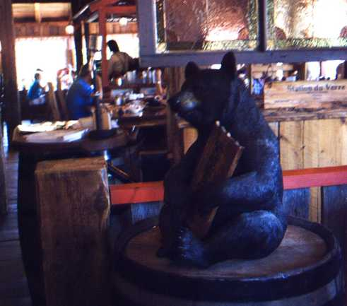 A bear on a barrel