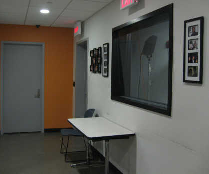 View down the hallway to WBAI's studio at CCNY