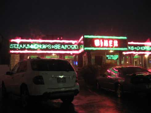 a diner in the rain